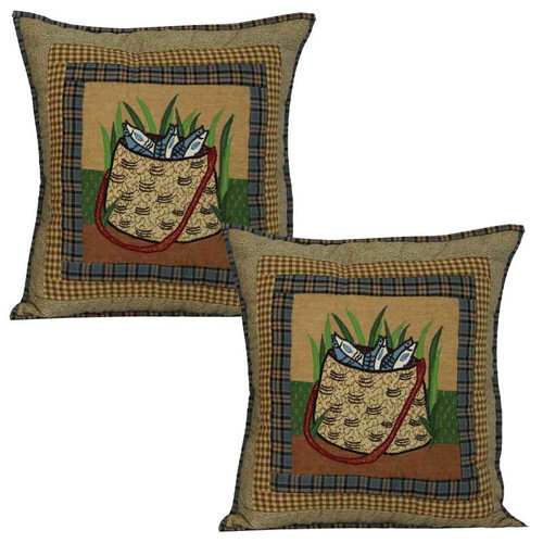 Patch Magic Gone Fishing Bag Cotton Throw Pillow (Set of 2)
