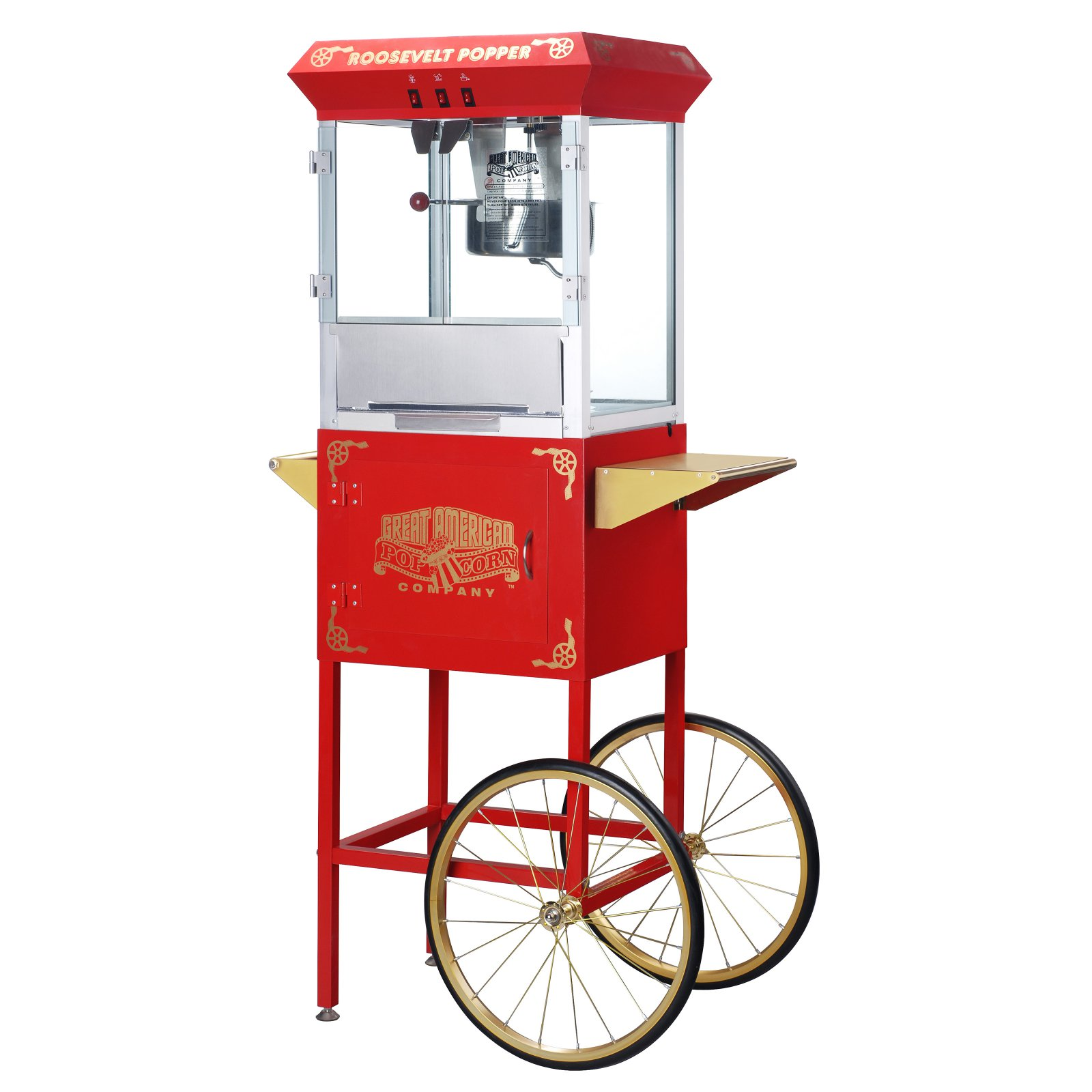 Great Northern Red 8-Ounce Antique Style Popcorn Popper Machine with Cart