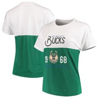 Milwaukee Bucks FISLL Women's Interlock Mesh Combo Short Sleeve T-Shirt - White/Hunter Green