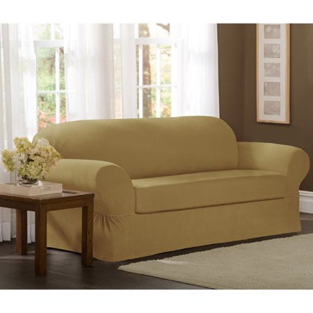 Floral Furniture Slipcover - Maytex Stretch Collin 2 Piece Sofa Furniture Cover Slipcover, Gold