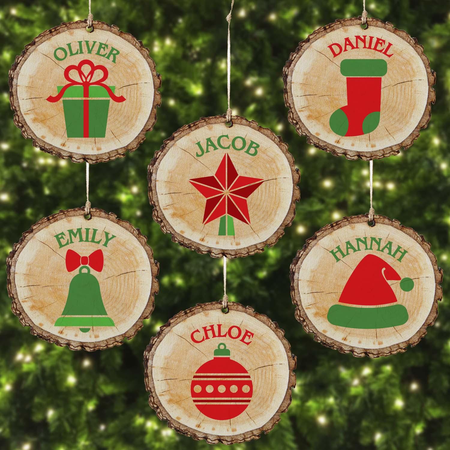 Personalized Rustic Christmas Wood Ornament-Available in 6 Designs
