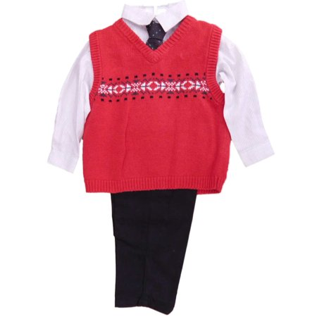 Mark Jason Toddler Boys 4 Piece Dress Up Outfit Red Sweater Vest