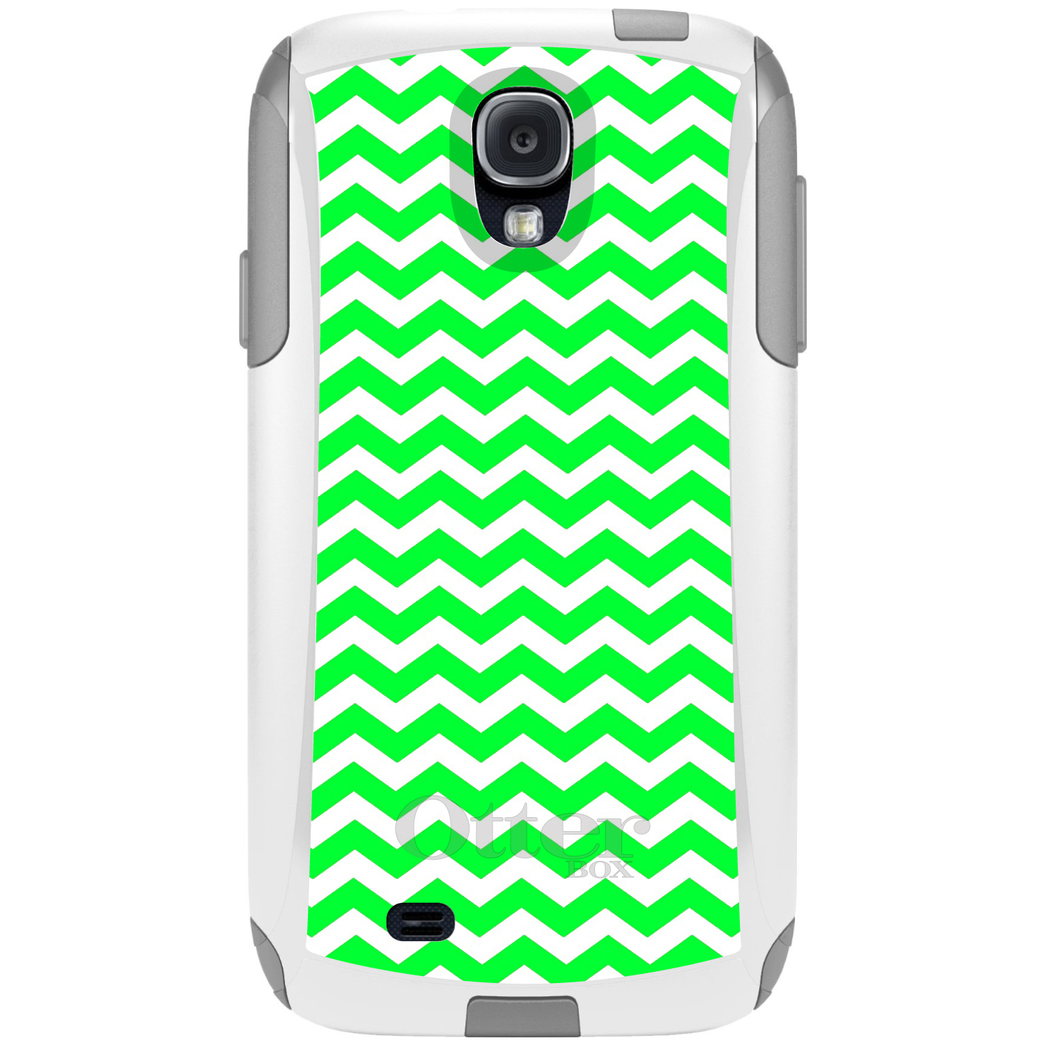 DistinctInk™ Custom White OtterBox Commuter Series Case for Samsung Galaxy S4 - Green White Chevron Stripes Wave