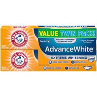 Arm & Hammer Advance White Extreme Whitening with Stain Defense, Clean Mint, 6 oz Twin Pack (Packaging May Vary)