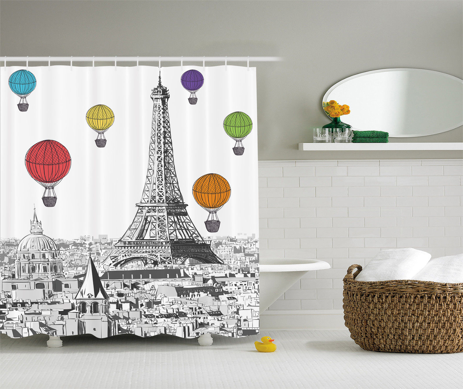 Paris Eiffel Tower and Notre Dame Colorful Hot Air Balloon Fabric ...