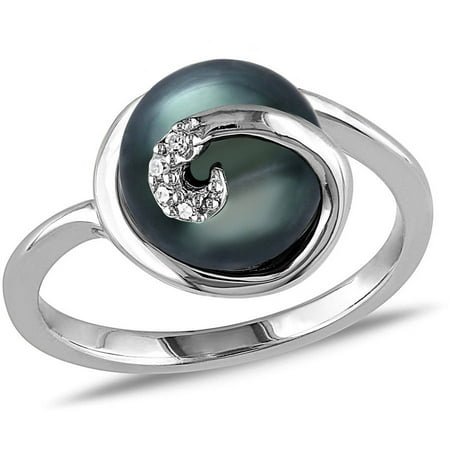 9-9.5mm Black Tahitian Pearl and Diamond-Accent Sterling Silver Cocktail Ring