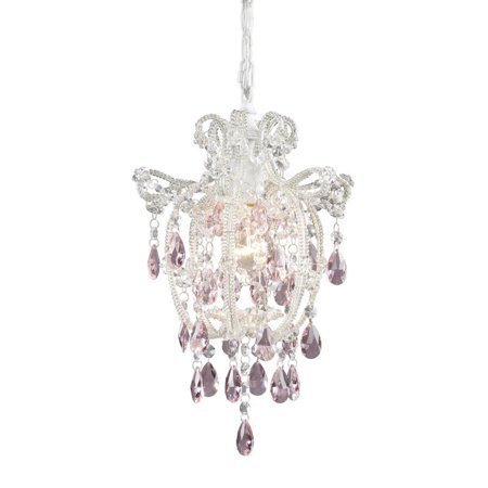 - Elk Lighting Elise Pendant in Antique White and Pink Crystal