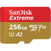 SanDisk 256GB Extreme UHS-I microSDXC Memory Card with Adapter. Designed for microSD devices such as smartphones, interchangeable-lens cameras, drones, or GoPro action cameras that can capture Full HD