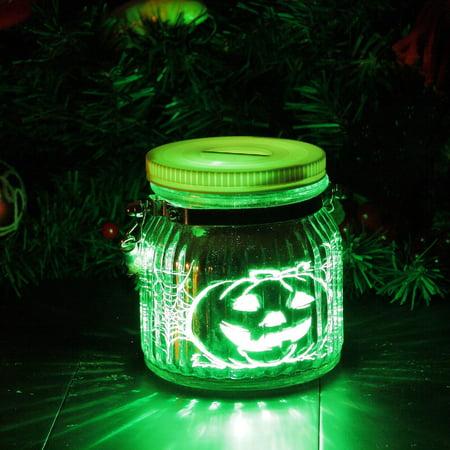 Candle Choice Halloween Pumpkin Mason Jar Light Indoor Outdoor Jar Light Battery Operated Lantern with Remote and Timer Halloween Light