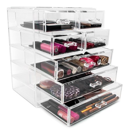 Sorbus Acrylic Cosmetics Makeup And Jewelry Storage Case Display 3 Large 4 Small Drawers
