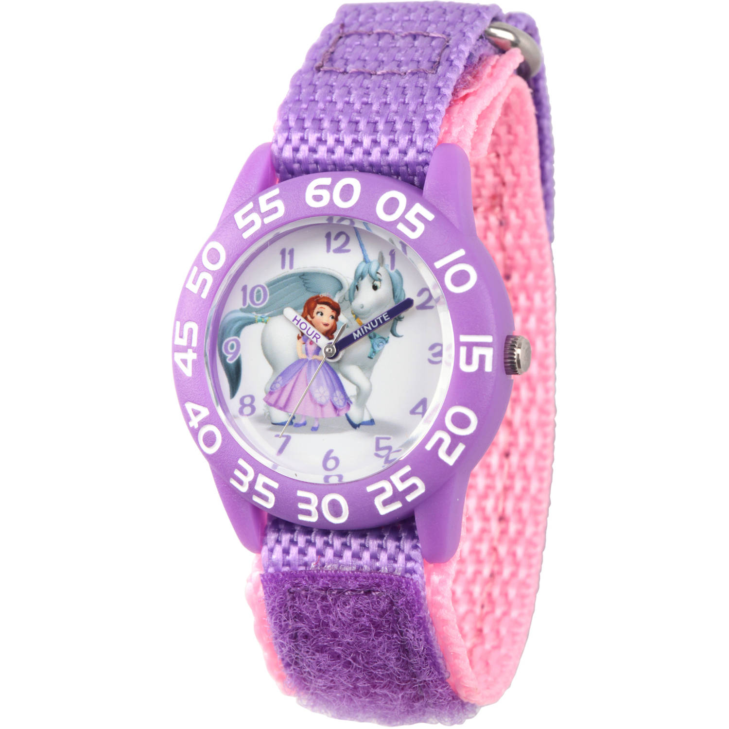 Princess Sofia Girls' Purple Plastic Time Teacher Watch, Purple Hook and Loop Nylon Strap with Pink Backing