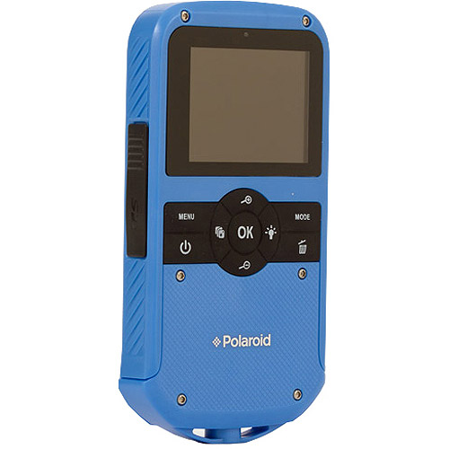 "Polaroid iD610 HD Water-Resistant Pocket Camcorder with 5x Optical Zoom and 2"" LCD, Blue"