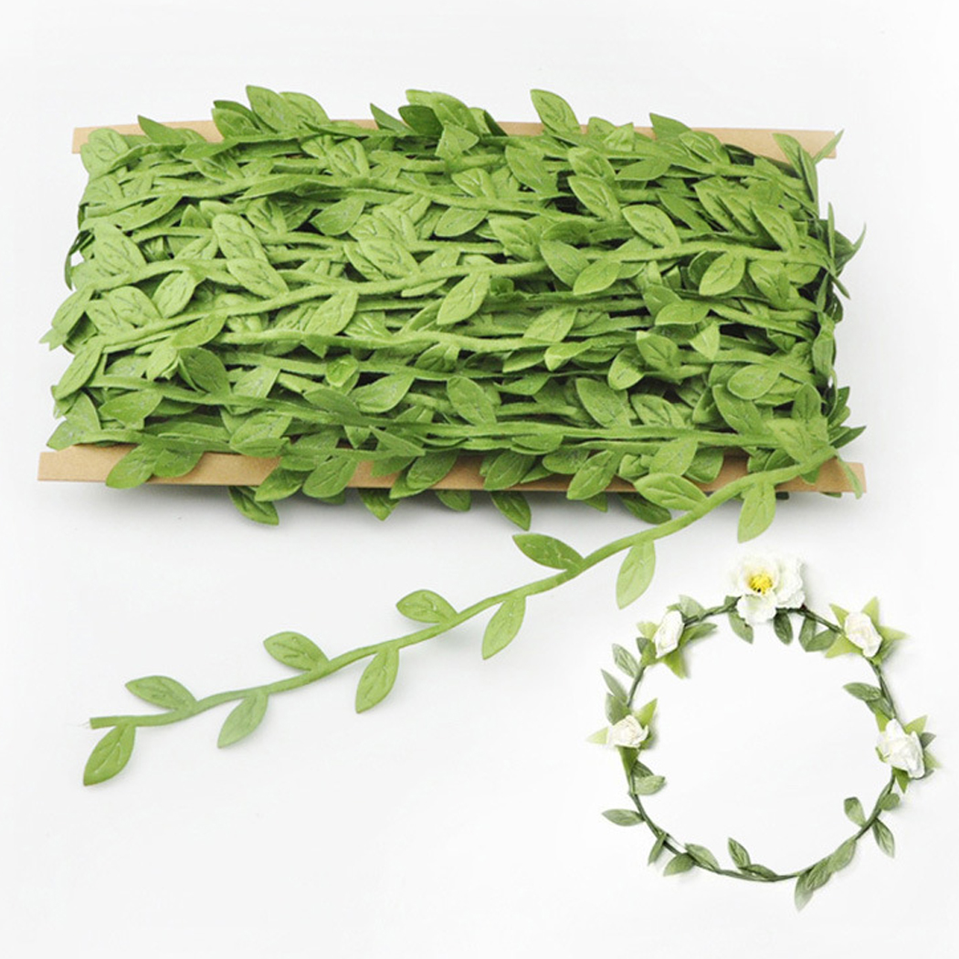 Outgeek Green Artificial Vines Decorative Cloth DIY Fake Leaves Hanging Plants Wreath Accessories Party Supplies Decorations for Home Garden Valentine's Day Wedding Party Decor