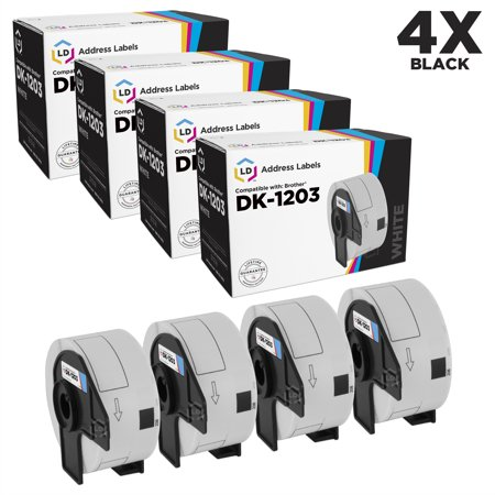 LD Compatible Brother DK1203 White Labels: 0.66 x 3.4 4PK for P-Touch