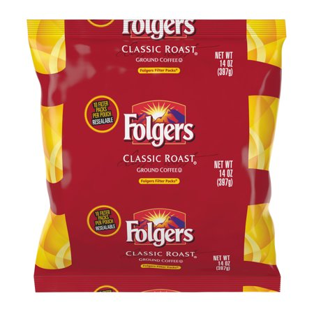 Folgers Filter Packs Classic Roast Ground Coffee  1 4 Oz  40 Count
