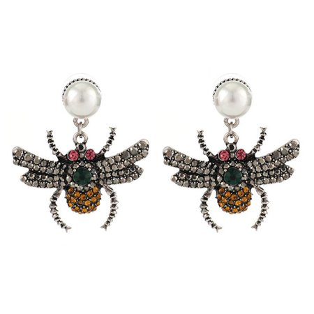 Sonew Women Fashionable Simple Faux Pearl Alloy Rhinestones Bees Earrings,Fashionable Earrings, Faux Pearl Earrings - image 1 of 1