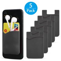 5/2/1 Pack Phone Card Holder, TSV Adhesive Silicone Credit Card Pocket Money Pouch Holder Case For Cell Phone, Ultra Slim Pocket ID Credit Card Holder Sleeves Pouch Compatible with all smartphones