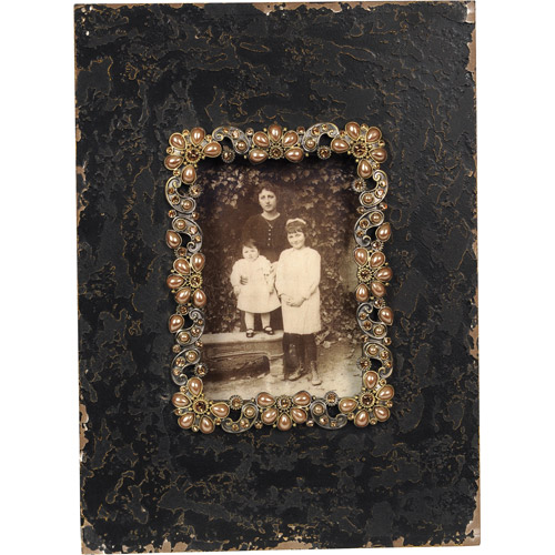 Wilco Black Photo Frame with Rhinestone, Black and Gold