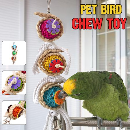 Acrylic Bird Cage Parrot Macaw Cockatie Cage Chew Toys Swing Scratcher with  Bell