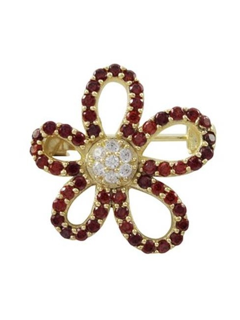 Dlux Jewels Gold Plated Sterling Silver Open Flower with Garnet & White Cubic Zirconia Brooch & Pin