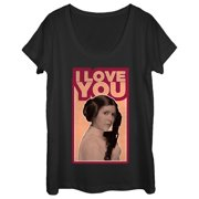 Star Wars Women's Princess Leia Quote I Love You Scoop Neck T-Shirt
