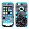 Insten Black Lace Flowers/Teal Hybrid TUFF Phone Premium Case For iPhone SE 5G 5th 5 5s