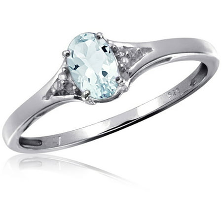 0.44 Carat T.G.W. Aquamarine Gemstone and Accent White Diamond Women's Sterling Silver Ring