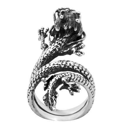 Stainless Steel Long Dragon Ring (Available in Sizes 8 to 12) size 11 - Dragon Ring Jewelry