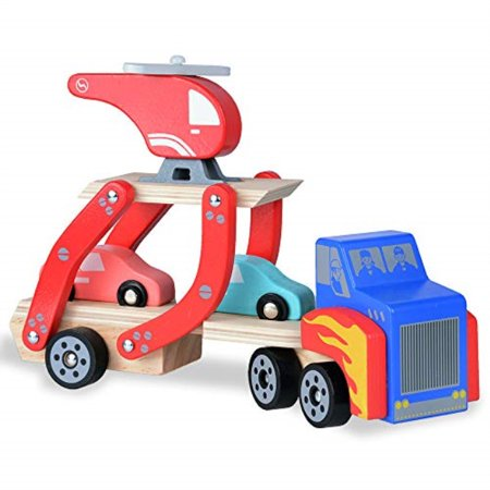 rolimate Toddler Toys for 1 2 Year Old Boy and Girl Gifts Wooden Car Carrier Toys with 1 Truck + 2 Cars + 1