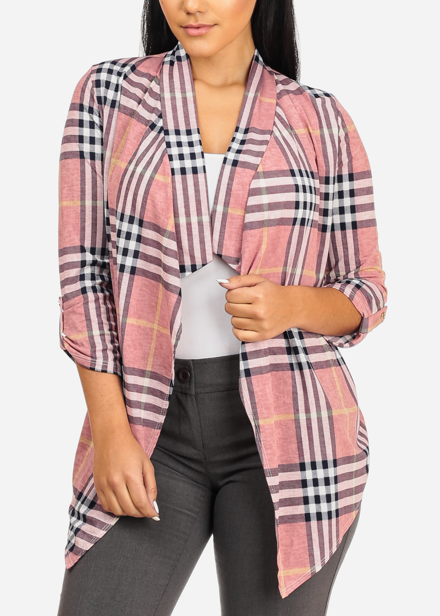 Womens Juniors Stylish Open Front 3/4 Roll Up Sleeve Asymmetrical Pink Paid Print Cardigan 20201P