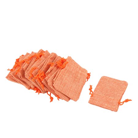 Dorm Cotton Linen Sundries Ring Necklace Holder Drawstring Bag Orange 25 Pcs (Coin Necklace Holder)