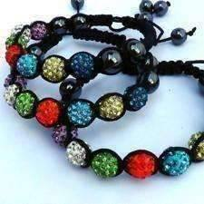 ON SALE - Sparkly Multi-Color Crystals Hand Made Shamballa Bracelet Colorful