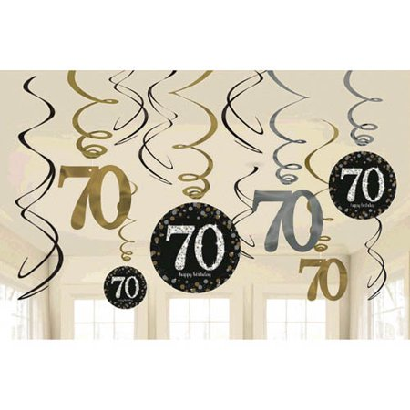 Over the Hill 'Sparkling Celebration' 70th Birthday Hanging Swirl Decorations (12pc) - 70th Decorations