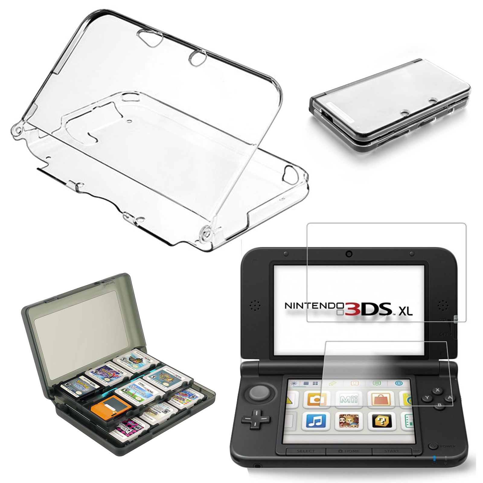 Acessoires For New Nintendo 3DS XL/LL DS Cover Case + Screen Protector + Game Card Holder