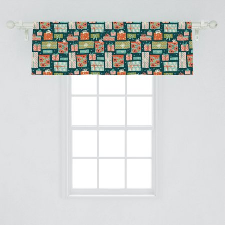 Image of Christmas Window Valance, Colorful Illustration of Holiday Present Boxes with Flowers Rectangular Boxes, Curtain Valance for Kitchen Bedroom Decor with Rod Pocket, by Ambesonne