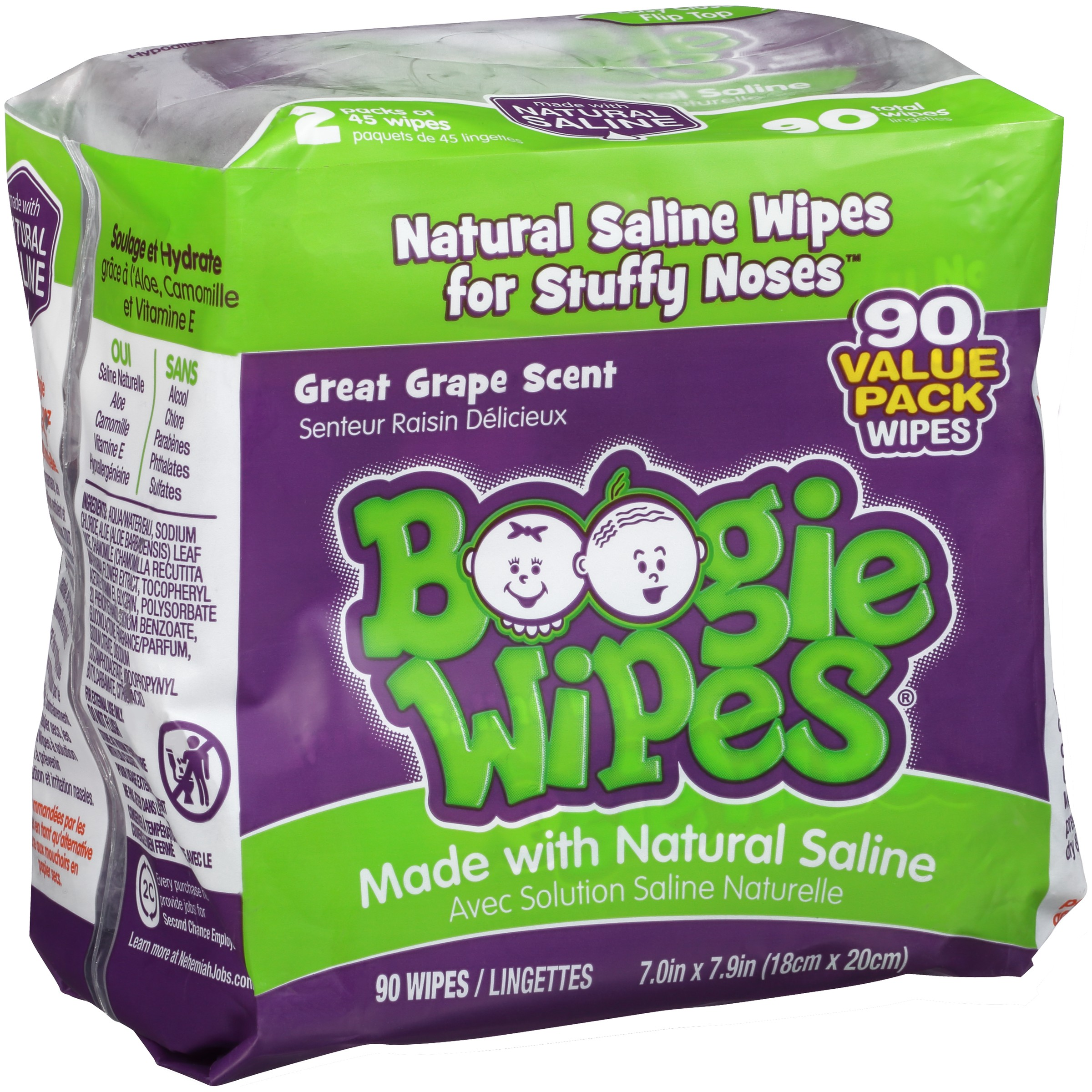 Boogie Wipes® Great Grape Scent Nose Wipes with Natural Saline 90 ct Pack