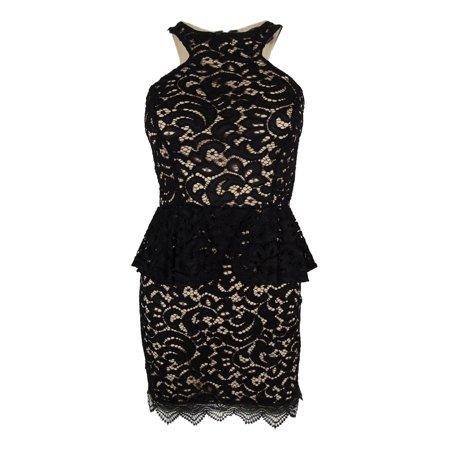 Material Girl Juniors' Sleeveless Lace Peplum Dress (XS, Caviar Black Combo) ()