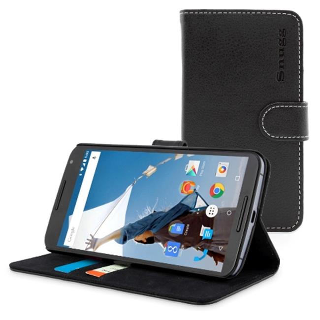 Snugg B00PY02GOO Nexus 6 Flip Case Cover, Black Leather
