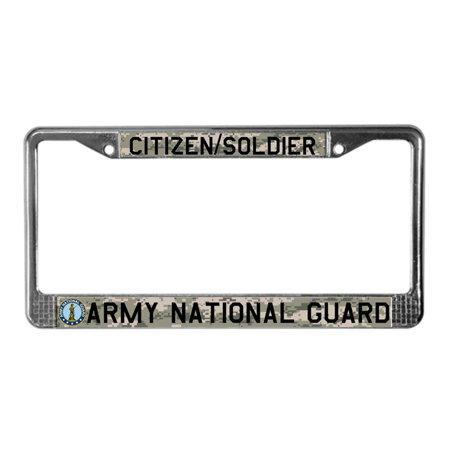 CafePress - Army National Guard - Chrome License Plate Frame, License Tag Holder