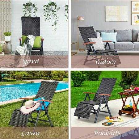 Aluminum Rattan Lounge Chair Recliner Patio Garden Furniture Folding Back - image 8 of 10