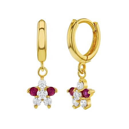 18k Gold Plated Pink Clear Cubic Zirconia Hoop Dangle Flower Girls Earrings
