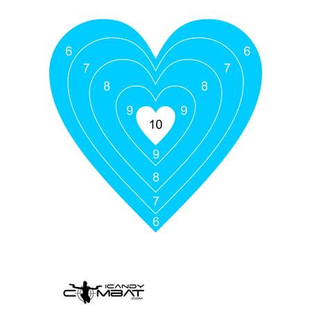 Blue Heart Paper BullsEye Shooting -