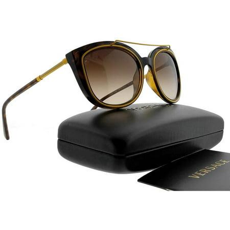 Sunglasses Brown Lens Tortoise Frame - Versace VE4336-10813-56 Oval Womens Tortoise Frame Brown Lens Genuine Sunglasses