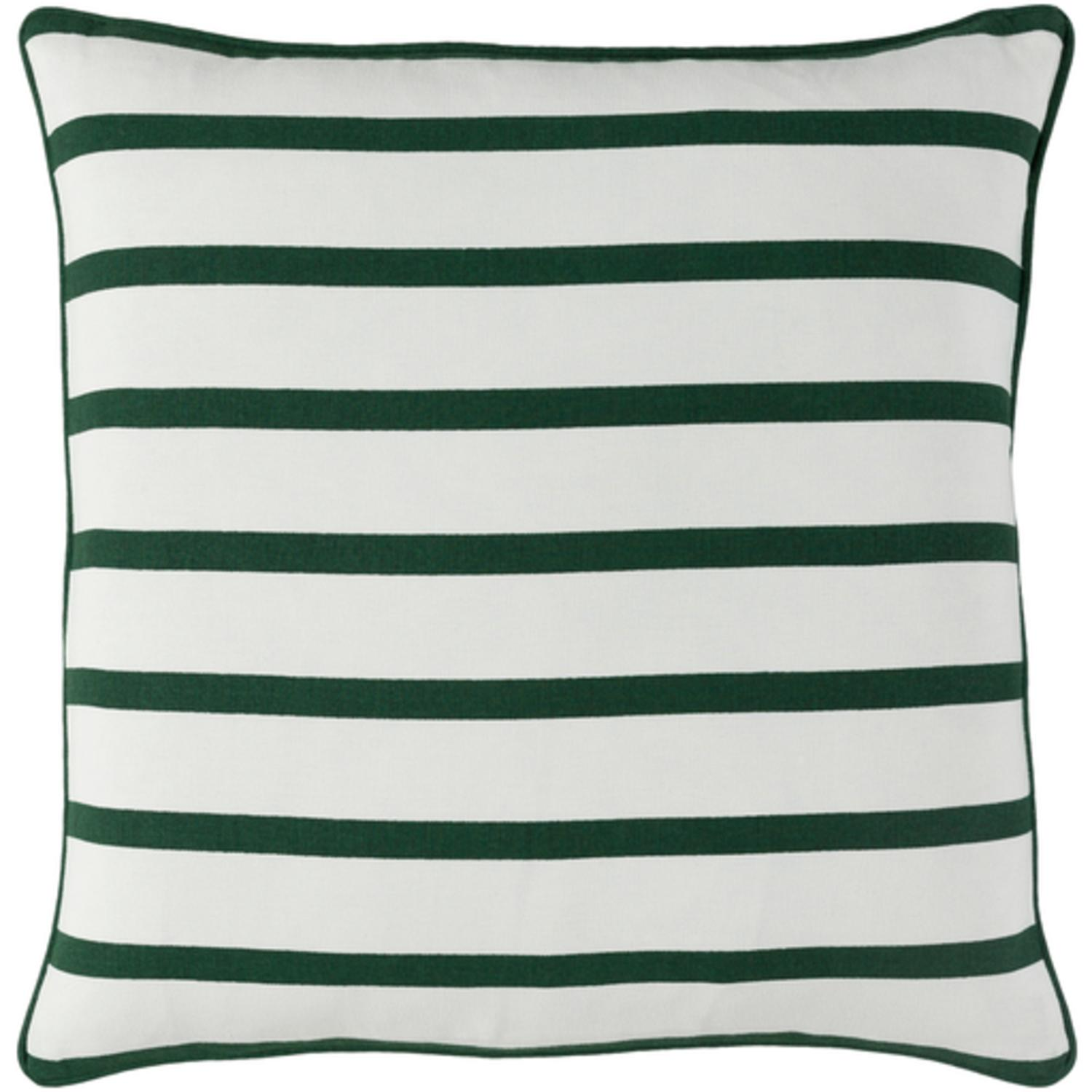 """18"""" Forest Green and Snow White Candy Cane Strips Christmas Throw Pillow –Down Filler"""