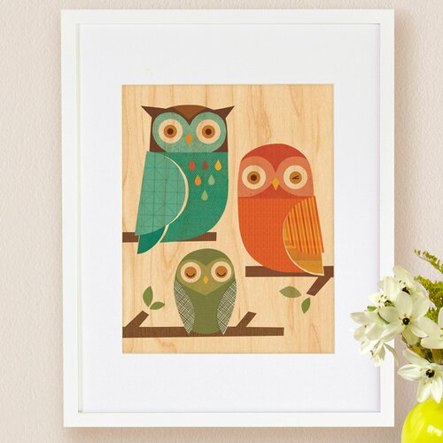 Petit Collage Owl Trio, Small Framed Art