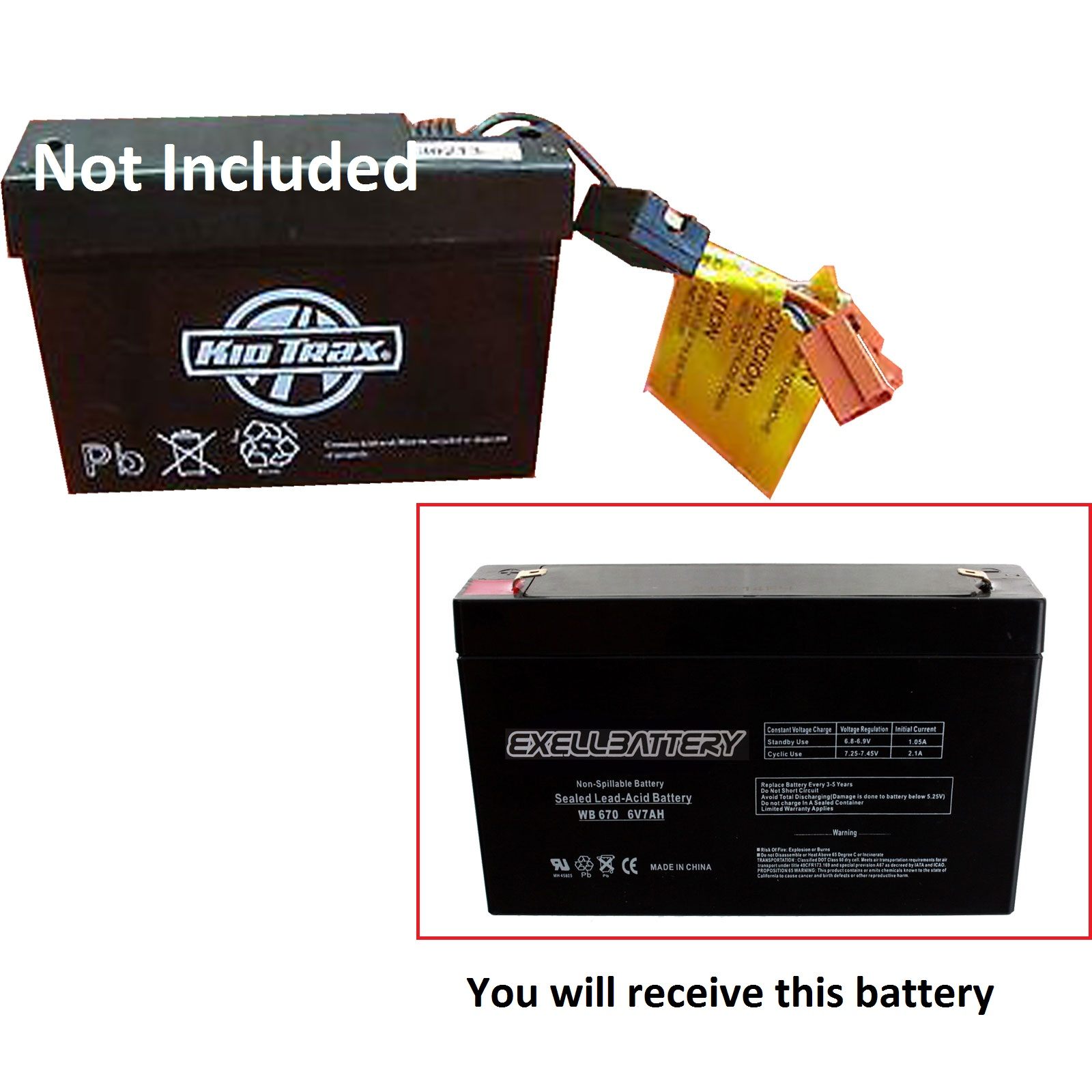 kid trax 6 volt 70 amphr rechargeable replacement