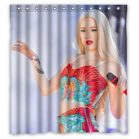 Deyou Sexy Singer Iggy Azalea Hot Woman Design Shower Curtain Polyester Fabric Bathroom Shower Curtain Size 66X72 Inches