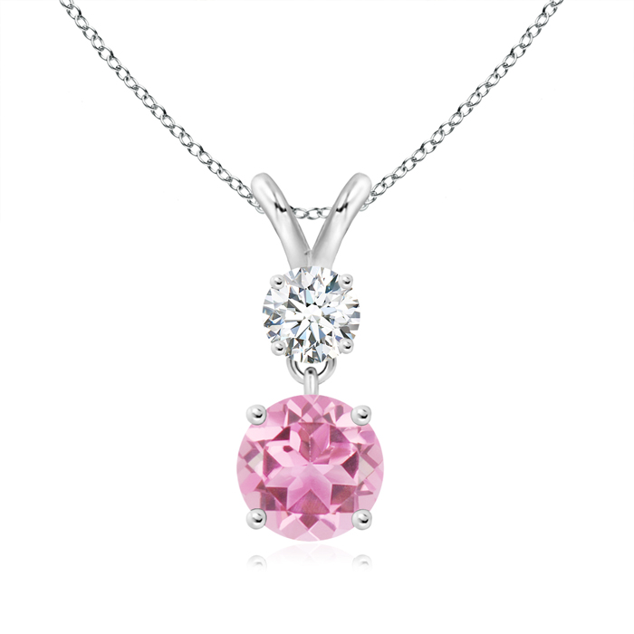 October Birthstone Pendant Necklaces Two Stone Round Diamond and Pink Tourmaline Pendant Necklace in 950 Platinum (6mm... by Angara.com