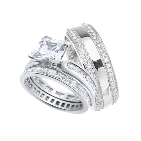 His and Hers Wedding Ring Set Matching Sterling Silver Anniversary Bands for Him and Her