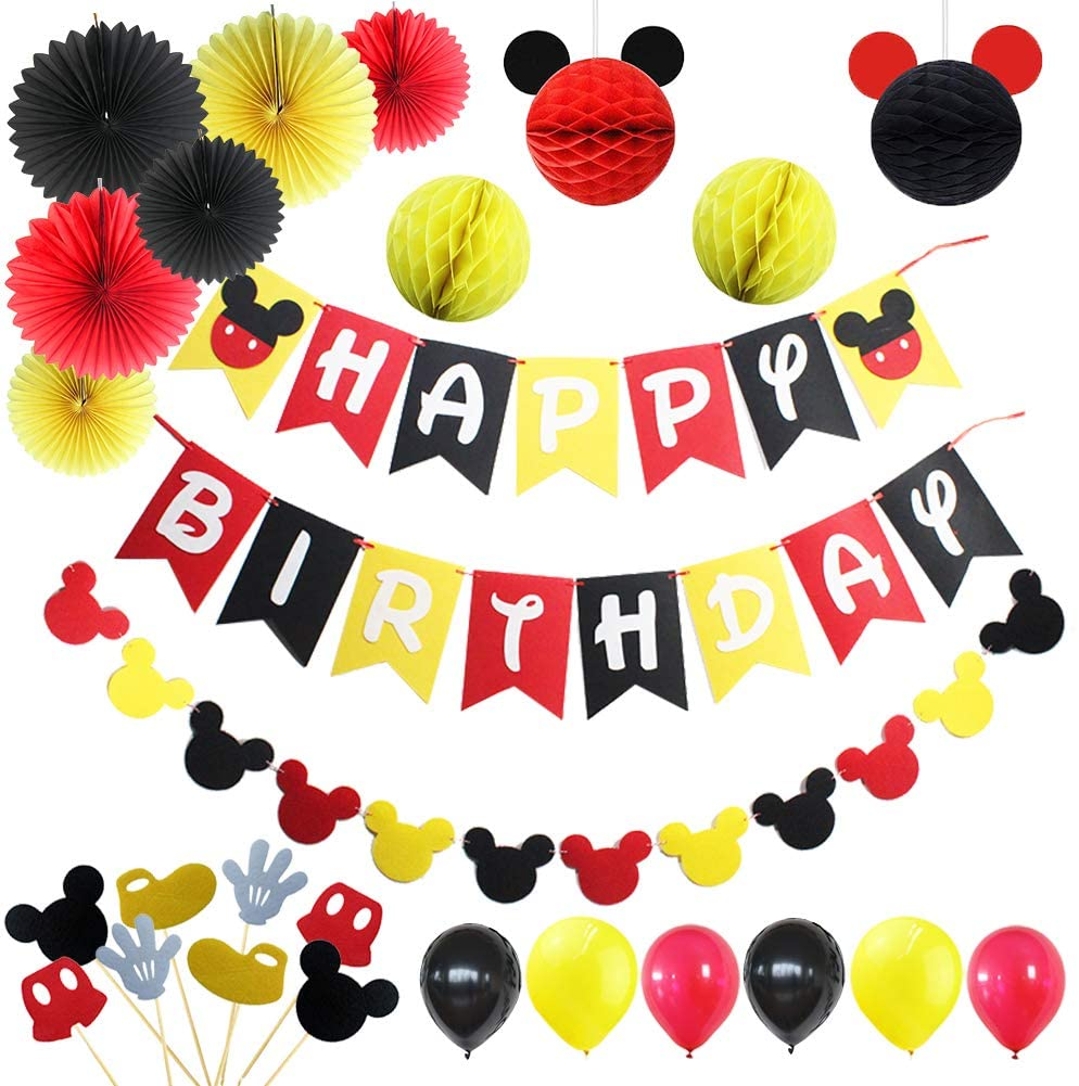 Red Black Yellow Balloon Arch Garland Kit for Mouse Theme Birthday Party Supplies Decorations Mouse Party Supplies 1st 2nd Birthday 121 PCS Mickey Theme Birthday Party Supplies Decorations